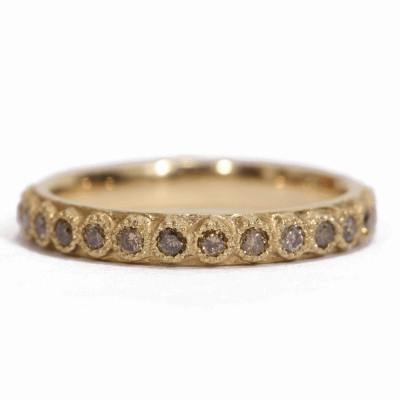 18k yellow gold stack ring with 1.7mm champagne diamonds.  Diamond Weight 0.675 ct.