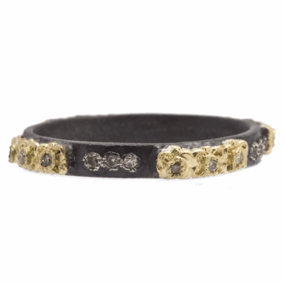 Old World blackened sterling silver and 18k yellow gold carved stack ring with champagne diamonds. Diamond Weight 0.1ct