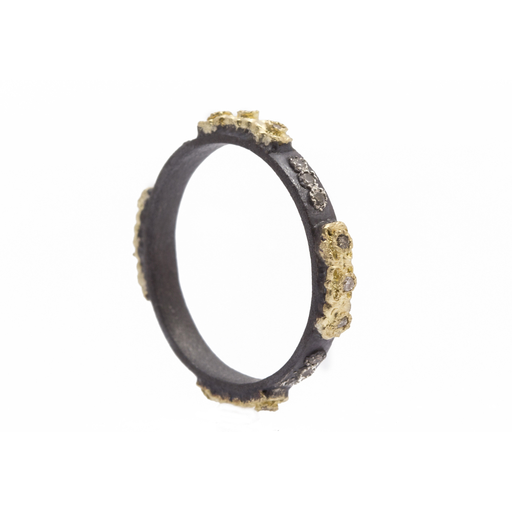 Carved Skinny Stack Ring With Diamonds - 08109 - alternate