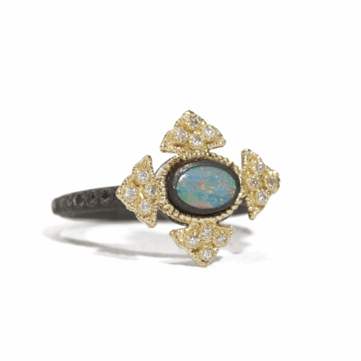 Blackened sterling silver and 18k yellow gold petite Boulder Opal crivelli oval cross stack ring with white and black diamonds.  Diamond Weight 0.281 ct.