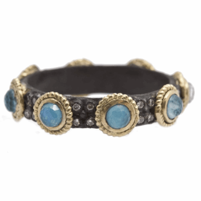 Oxidized sterling silver 3mm Blue Turquoise/Rainbow Moonstone stack band with double layered 1mm white diamonds. Diamond Weight .13 ct