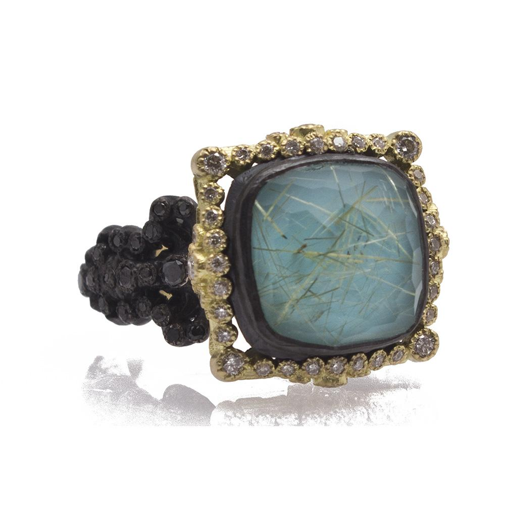 Rutilated  Quartz Ring With White Diamond Halo And Black Diamonds On Yellow Gold  Sculpted