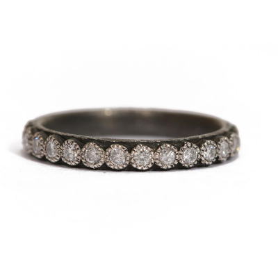 Old World blackened sterling silver stack ring with 1.7mm white diamonds. Diamond Weight 0.54ct
