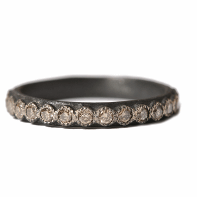 Old World blackened sterling silver stack ring with 1.7mm champagne diamonds. Diamond Weight 0.68ct