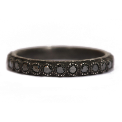 Old World blackened sterling silver stack ring with 1.7mm black diamonds. Diamond Weight 0.68ct
