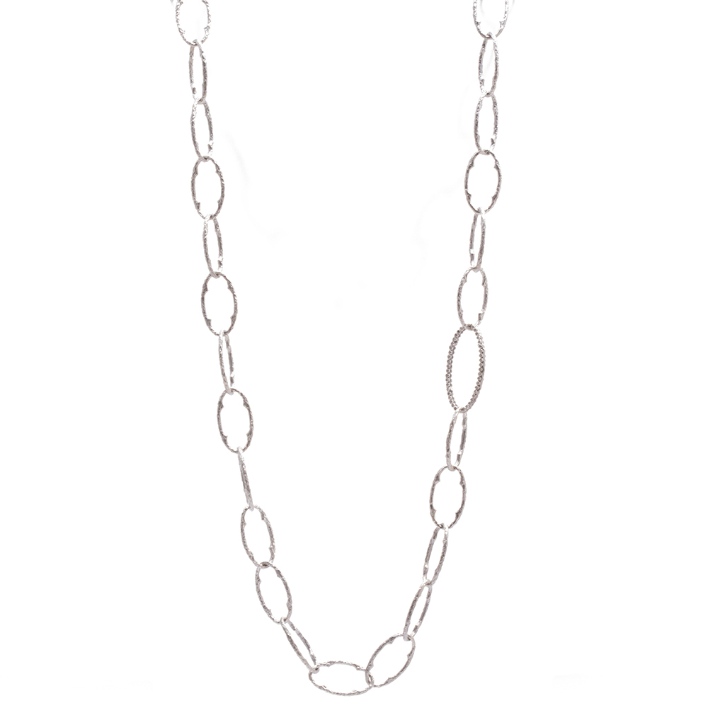 rhodium double plated link necklace oval