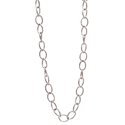 New World sterling silver vintage finish 20 inch medium oval twisted link necklace.