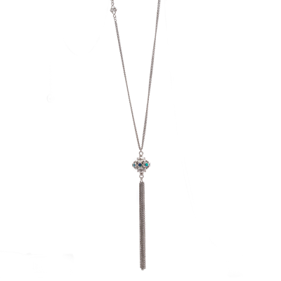 New World sterling silver vintage finish 30 inch open pointed ball tassel necklace with Boulder Opals and champagne diamonds with diamond scroll inset. Diamond Weight 0.3ct