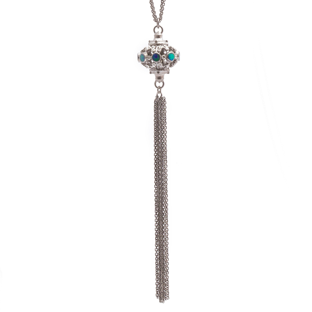 Pointed Tassel Necklace With Boulder Opals - 30 Inch - alternate