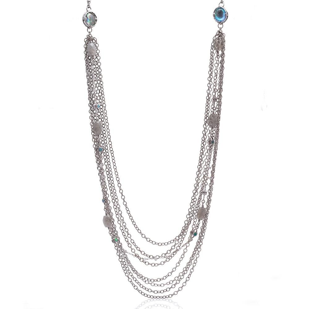 Blue Topaz Doublet And Boulder Opal Chain Necklace