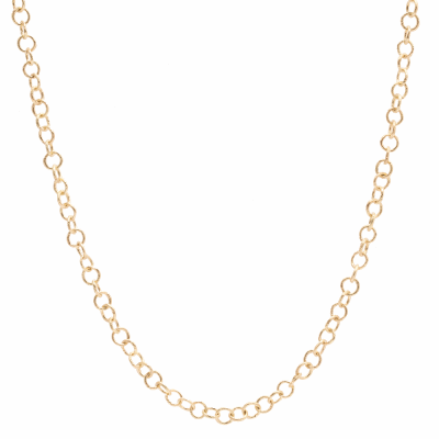 Sueno 18k yellow gold 30 inch sculpted round extra small link necklace.