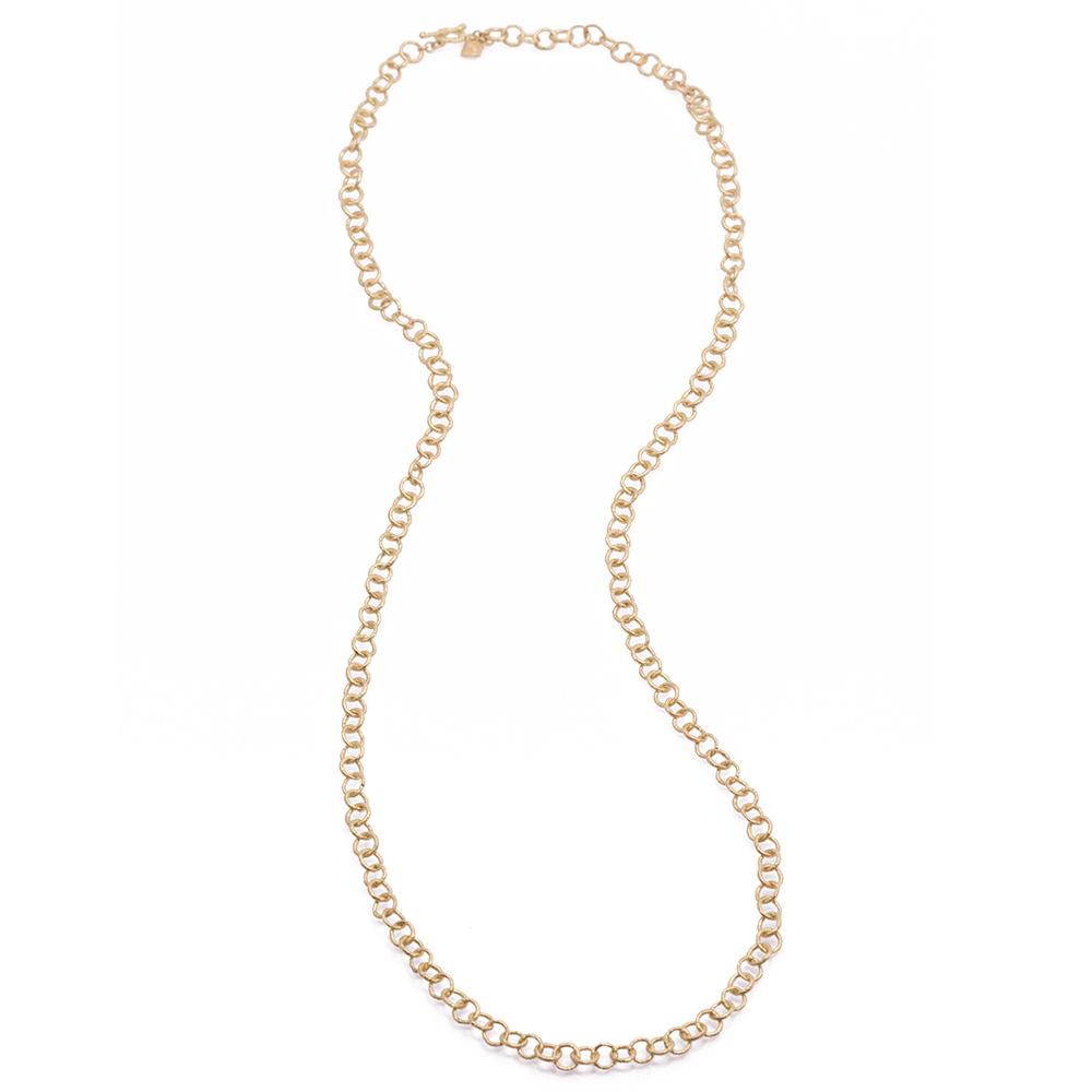Sculpted Round Extra Small Link Necklace - 30 Inch - alternate