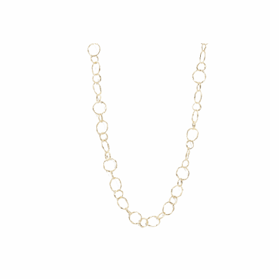 "Sueno 18k yellow gold 18"" circle link necklace."