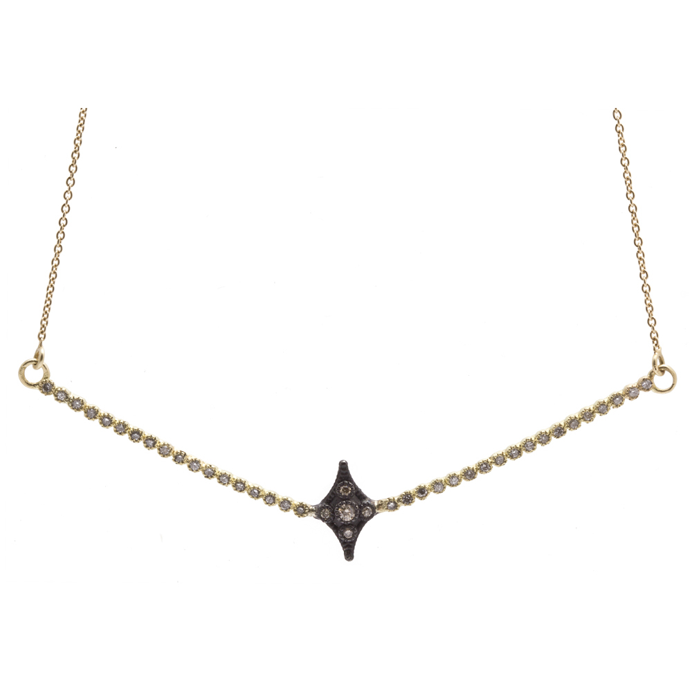 Single Crivelli V-Bar Necklace With Diamonds - 18 Inch - alternate