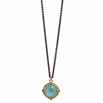 Old World oxidized sterling silver and 18k yellow gold 12mm round Blue Turquoise/Rainbow Moonstone doublet enhancer without sapphire drop on 16