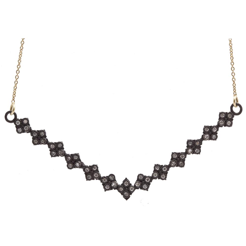 Crivelli V-Bar Necklace With Diamonds - 18 Inch - alternate