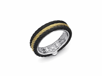 Black cable and yellow cable, 18 karat White Gold, stainless steel. Imported. - 02-58-0303-00