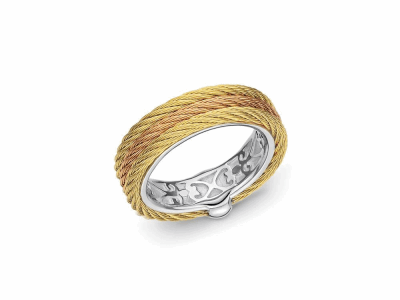 Rose and yellow cable, 18 karat Yellow Gold and stainless steel. Imported. - 02-39-S303-00
