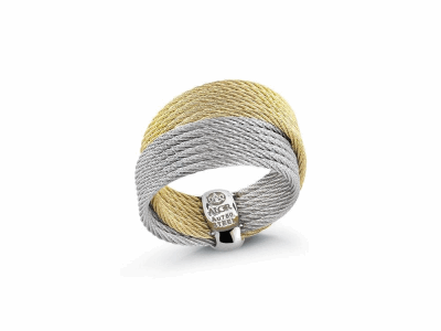 Yellow cable and grey cable 12 row 1.2mm, 18 karat Yellow Gold with stainless steel. Imported. - 02-34-S450-00