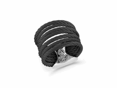 Black cable 7 row (3) 1.6mm & (4) 2.5mm with 18 karat Yellow Gold and stainless steel. Imported. - A2-52-0760-00