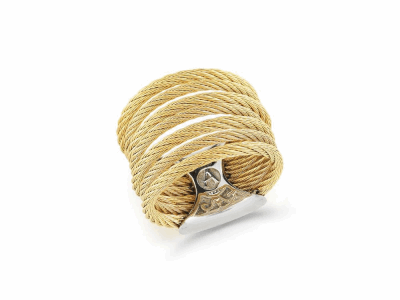 Yellow cable 7 row (3) 1.6mm & (4) 2.5mm, 18 karat Yellow Gold with stainless steel. Imported. - A2-37-S760-00