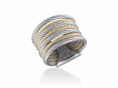 Yellow cable and grey cable 7 row (3) 1.6mm & (4) 2.5mm, 18 karat Yellow Gold with stainless steel. Imported. - A2-34-S760-00