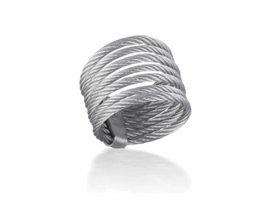 Grey cable 7 row (3) 1.6mm & (4) 2.5mm, 18 karat Yellow Gold with stainless steel. Imported. - A2-32-S760-00