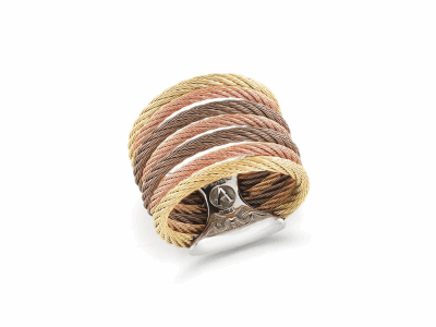Yellow cable, rose cable and bronze cable 7 row (3) 1.6mm & (4) 2.5mm, 18 karat Yellow Gold with stainless steel. Imported. - A2-30-S760-00