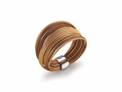 Yellow, rose and bronze micro cable 24 rows, 18 karat Yellow Gold, stainless steel. Imported. - 02-59-S424-00