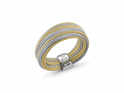 Yellow micro cable and grey micro cable 24 rows, 18 karat Yellow Gold with stainless steel. Imported. - 02-34-S424-00