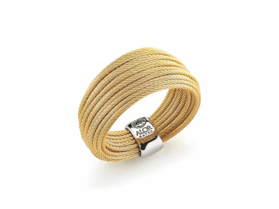 Yellow micro cable 24 rows, 18 karat Yellow Gold and stainless steel. Imported. - 02-37-S424-00