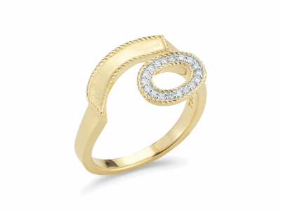 18kt. Yellow Gold and Diamonds 0.09     total carat weight. Imported. - 02-07-1018-11
