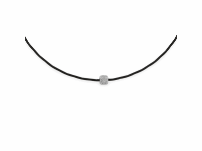 Black cable, 18kt. White Gold, 0.05    total carat weight. Diamonds and stainless steel. Imported. - 08-52-0541-11