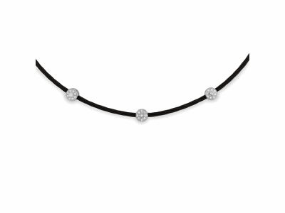 Black cable, 18kt. White Gold, 0.14    total carat weight. Diamonds and stainless steel. Imported. - 08-52-0523-11