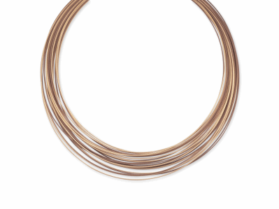 Bronze cable and rose micro cable 30 rows, 18 karat White Gold and stainless steel. Imported. - 08-57-0430-00
