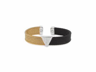 Black cable and Yellow cable, 18kt. White Gold, 0.17     total carat weight. Diamonds w/stainless steel. Imported. - 04-58-0628-11