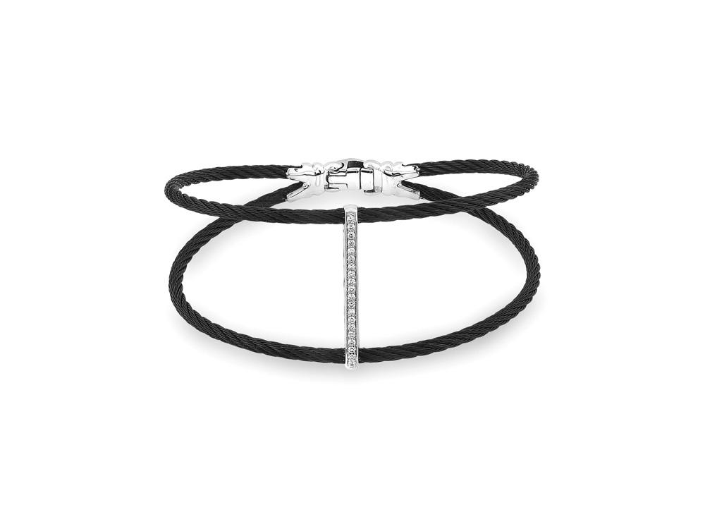 Noir Double Cable Bracelet with Diamond Bar