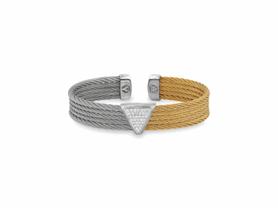 Yellow cable and Grey cable, 18kt. White Gold, 0.17     total carat weight. Diamonds w/stainless steel. Imported. - 04-34-S628-11