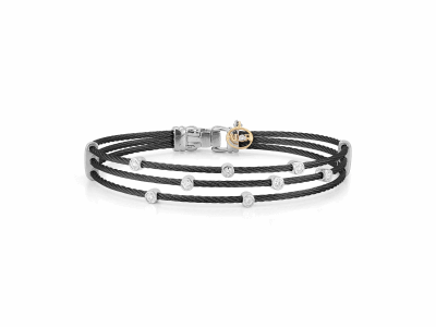 Black cable, 18 karat White Gold, 0.18     total carat weight Diamonds with stainless steel. Imported. - 04-52-0386-11