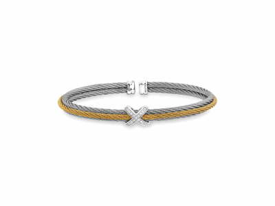 Yellow cable and Grey cable, 18kt. White Gold, 0.14    total carat weight. Diamonds w/stainless steel. Imported. - 04-34-S417-11