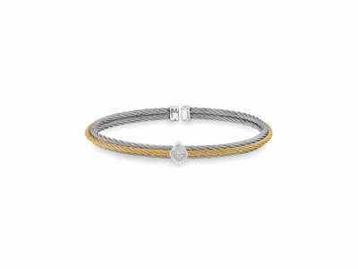 Yellow cable and Grey cable, 18kt. White Gold, 0.07    total carat weight. Diamonds w/stainless steel. Imported. - 04-34-S416-11
