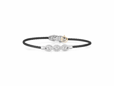 Black cable, 18 karat White Gold, 0.32     total carat weight Diamonds with stainless steel. Imported. - 04-52-0108-11