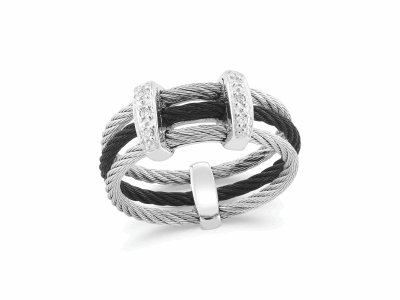 Black cable and grey cable, 18 karat White Gold, 0.05     total carat weight Diamonds with stainless steel. Imported. - 02-54-0321-11