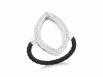 Black cable, 18kt White Gold, 0.23     total carat weight Diamonds and stainless steel. Imported. - 02-52-0738-11