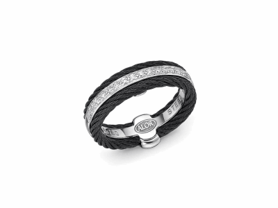 Black cable, 18 karat White Gold, 0.12     total carat weight Diamonds and stainless steel. Imported. - 02-52-0311-11