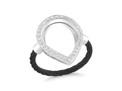 Black cable, 18kt White Gold, 0.26     total carat weight Diamonds and stainless steel. Imported. - 02-52-0736-11