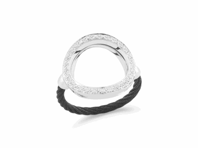 Black cable, 18kt White Gold, 0.23     total carat weight Diamonds and stainless steel. Imported. - 02-52-0732-11