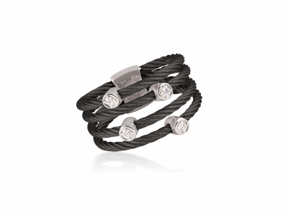 Black cable, 18kt White Gold, 0.09     total carat weight Diamonds and stainless steel. Imported. - 02-52-0422-11