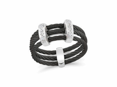 Black cable, 18kt White Gold, 0.05     total carat weight Diamonds and stainless steel. Imported. - 02-52-0321-11