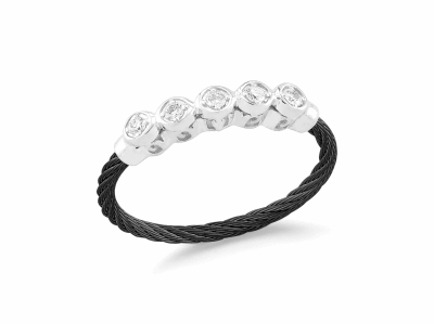 Black cable, 18kt White Gold, 0.11     total carat weight Diamonds and stainless steel. Imported. - 02-52-0142-11
